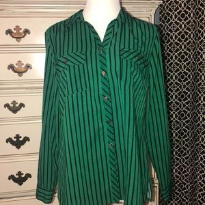 Notations green and black striped button shirt